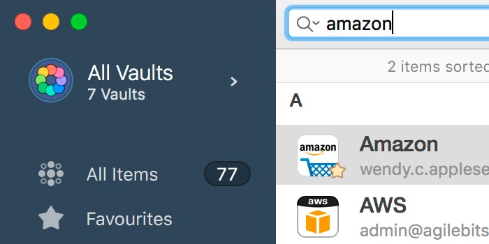 buscar contraseñas 1password mac