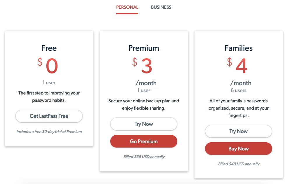 Precios y planes de LastPass Personal