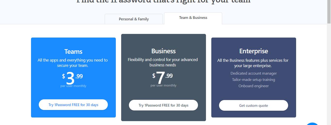 Planes comerciales de 1password