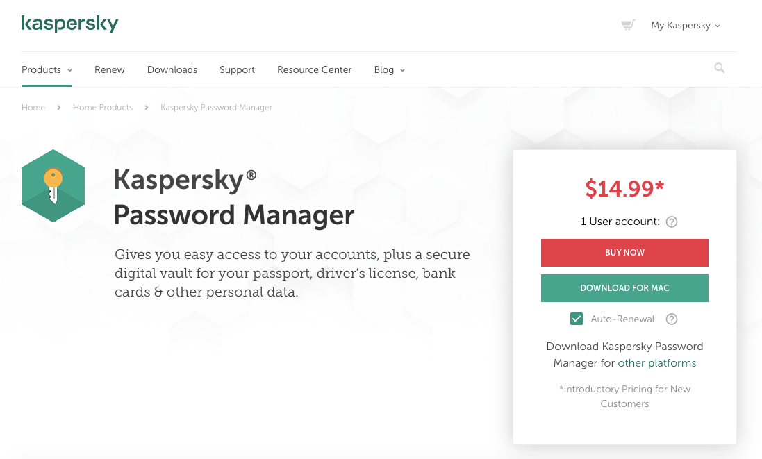 Kaspersky Password Manager: Opinión